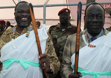 Dr. Riek Machar  with his Deputy Gen. Lado Gore during Fagak conference